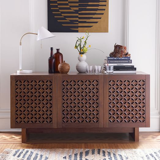 carved wood media console - You & Yours Interiors