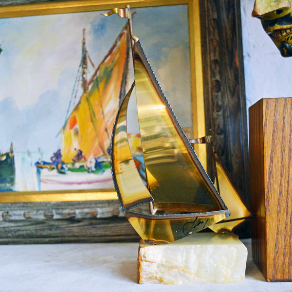vintage brass sailboats sculpture - You & Yours Fine Vintage