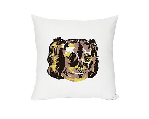 Cute white throw pillow with a stylized dog printed on the front. On white background.