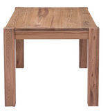 Side view of an elm wood farmhouse-style dining table.