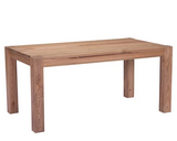 A farmhouse-style dining table in the Organic Modern style. Seats 6.