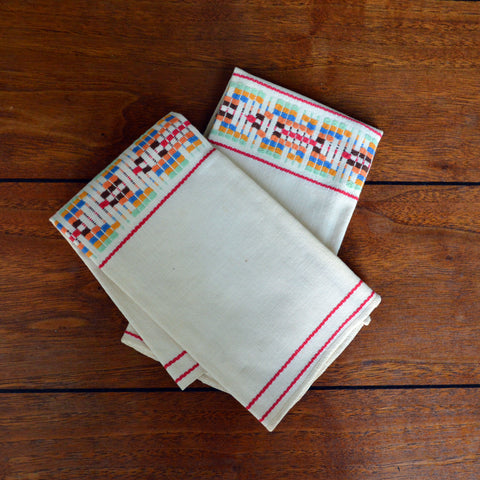 pair of hand-embroidered hand towels - You & Yours Fine Vintage