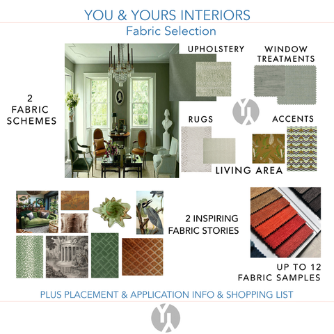 A digital concept board showing a fabric scheme that matches a photo of a living area with green walls.
