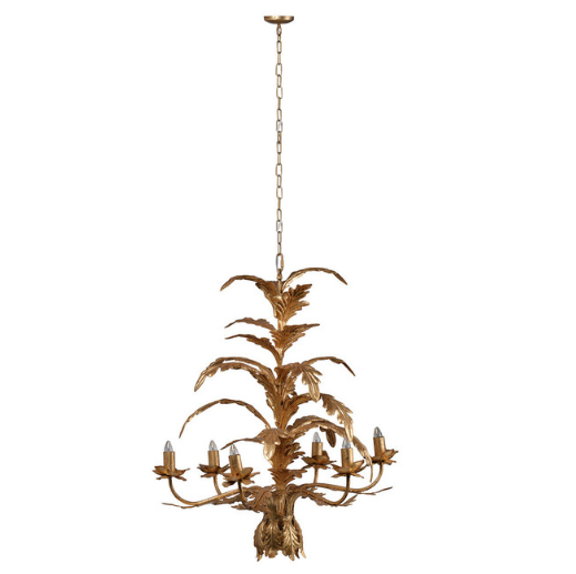 An ornate chandelier with an antique-brass finish and 6 bulbs on a white background.