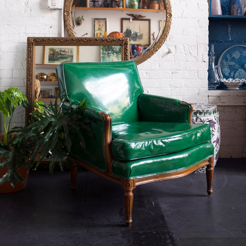 high-gloss green vinyl lounge chair - You & Yours Fine Vintage
