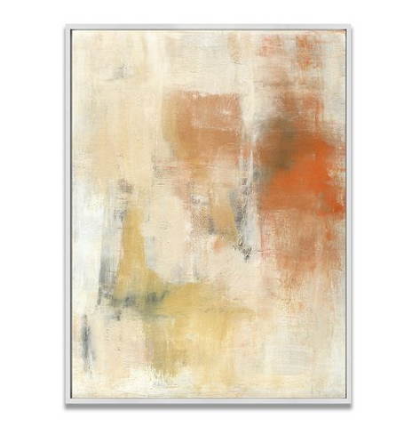 A framed, abstract giclee-on-canvas print with oranges, blues, and yellows.