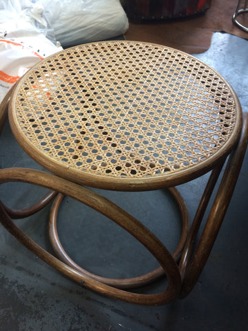 bamboo stool w/caned seat
