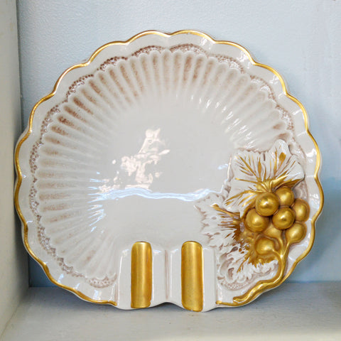 Italian ceramic ashtray w/gold accents - You & Yours Fine Vintage