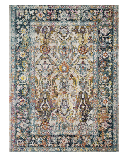 An Oriental style rug in tones of stone and teal.