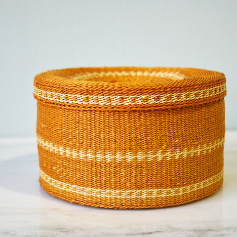 woven mustard-colored basket - You & Yours Fine Vintage