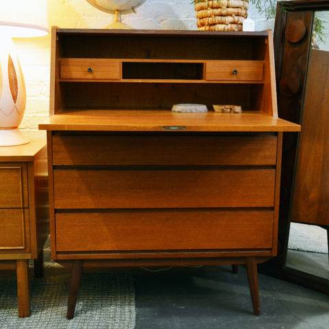 Mid Century Modern Scandinavian Secretary Desk - You & Yours Fine Vintage