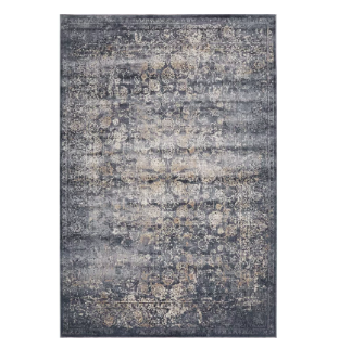 A faded looking, rugged rug that looks like a vintage Oriental-style overdyed rug in indigo.