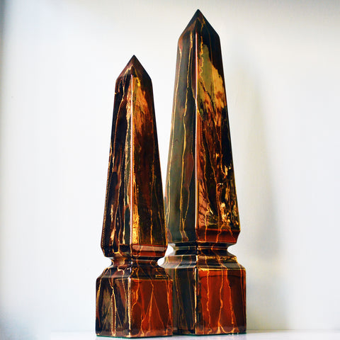 pair of ceramic copper-glazed obelisks - You & Yours Fine Vintage