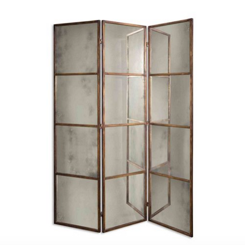 A paneled, hinged floor mirror that could also be a screen. Features antiqued gold mirrors and brass frame. On white background.