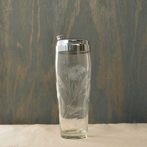 etched cocktail shaker w/peonies - You & Yours Fine Vintage