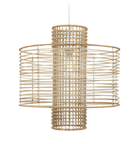 A hanging pendant light with an Art Deco-inspired shape, composed of rattan woven around wire—with a cylinder in the center.
