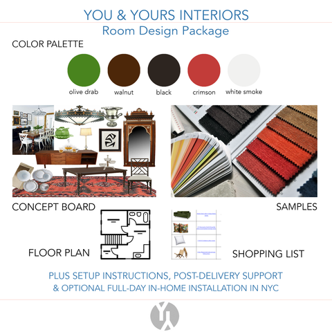 A digital concept board showing a berry color palette, a floor plan, a shopping list, and a concept board full of dining room furniture & accessories