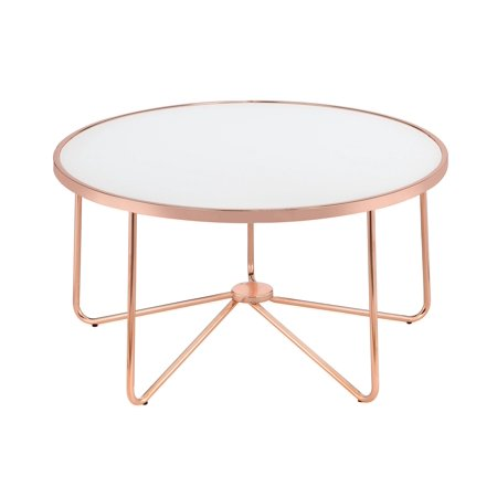 A round coffee table with a metal rose gold frame and frosted glass top.