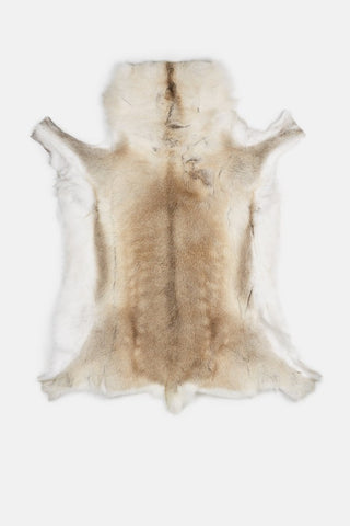 A sustainably-sourced reindeer hide in shades of white, cream, and beige. Pictured on a white background.
