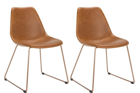 Set of two chairs with vinyl upholstery in a saddle color. Each has brass tone legs and the chairs have a mid-century modern feel.