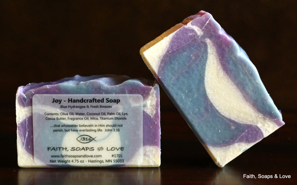 Joy - Blue Hydrangea Scented Handcrafted Artisan Soap - Made in MN