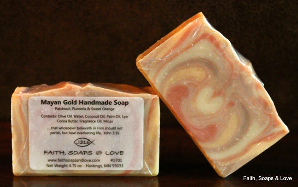 Mayan Gold Handcrafted Soap - Patchouli - Plumeria - Sweet Orange
