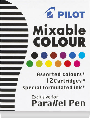Pilot Parallel Mixable Assorted Colour Pen Ink Refills (Box of 12 cartridges)