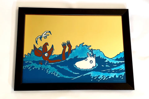 "Moomin ""Save Our Sea"" No. 1 - Gold Leaf Glass Art"