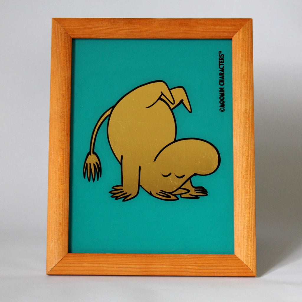Moomin on Blue Green - 23 Carat Gold Leaf Glass Art