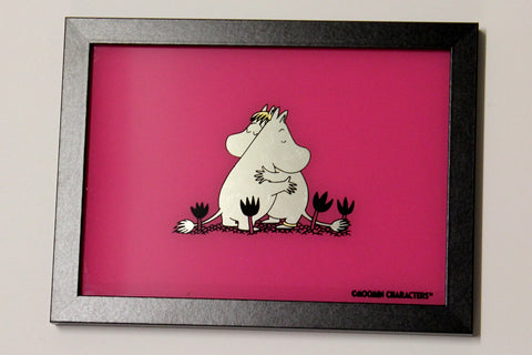 Moomin Love - 12 Carat White Gold Leaf Glass Art