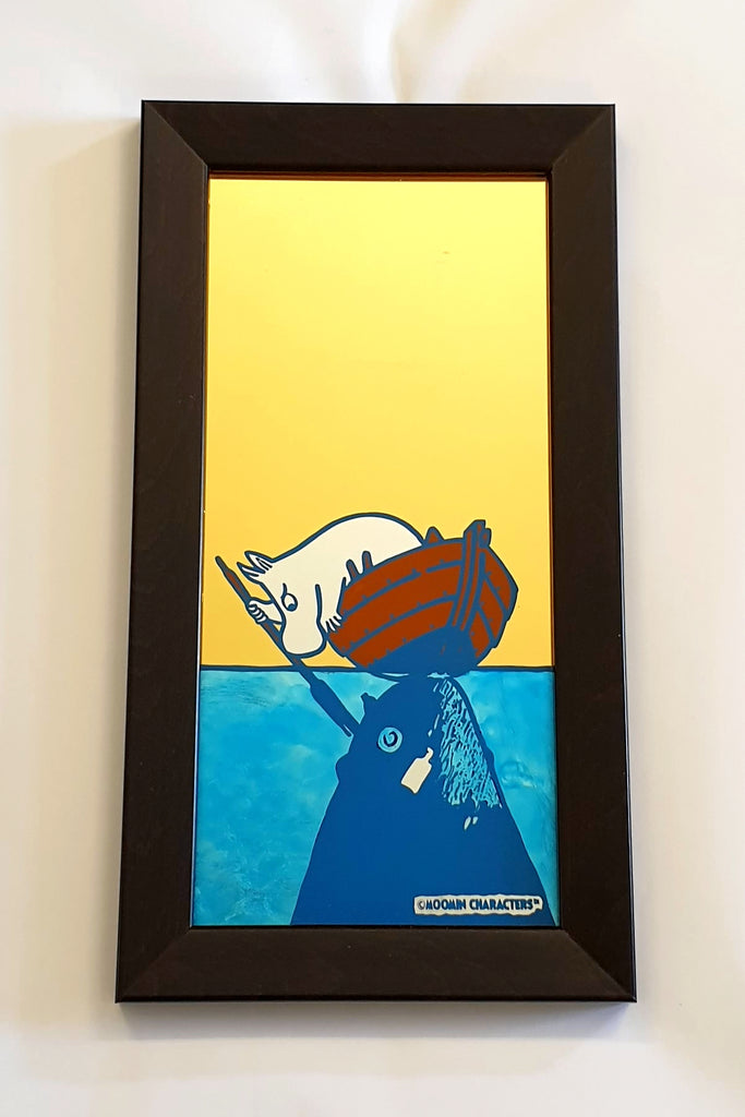 "Moomin ""Save Our Sea"" No. 2 - Gold Leaf Glass Art"