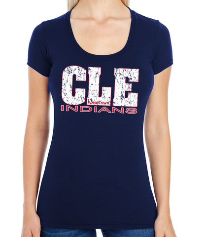 CLE Indians 2.0 Swoop Neck Tee