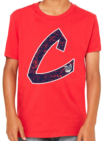Old School C Kids Tee (Navy/White)