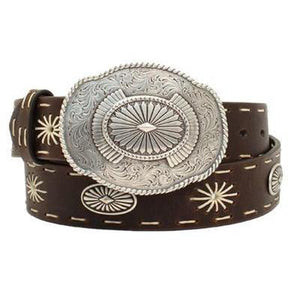 Angel Ranch Womens Starburst Stitch Oval Concho Belt