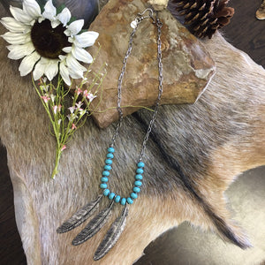 Necklace - Turquoise - feather - The Warrior Princess - Sage Denim Bar