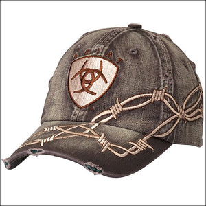 Ariat Distressed Brown Barb Wire Ball Cap
