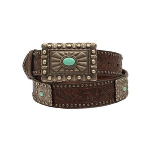 Ariat Western Belt Womens Rectangle Buckle Turquoise Stone