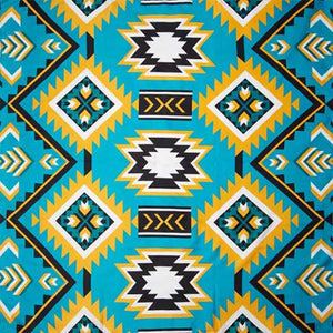 Teal and Gold Southwest #1 Silk Scarf