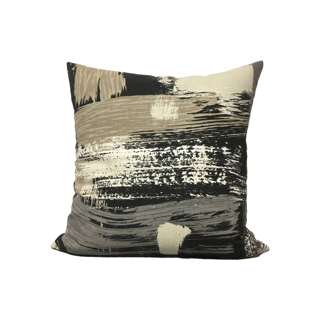 Sedge Abstract Charcoal Throw Pillow 17x17""
