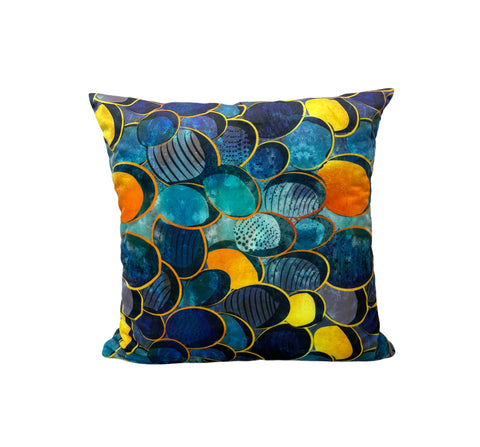 Abstract Deep Blue Throw Pillow 17x17""