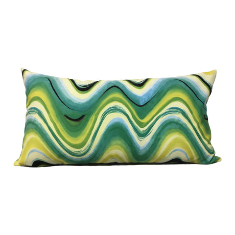Analuisa Green Wave Lumbar Pillow 12x22""
