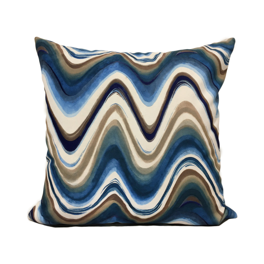 Anatoli Wave Blue Throw Pillow 20x20""