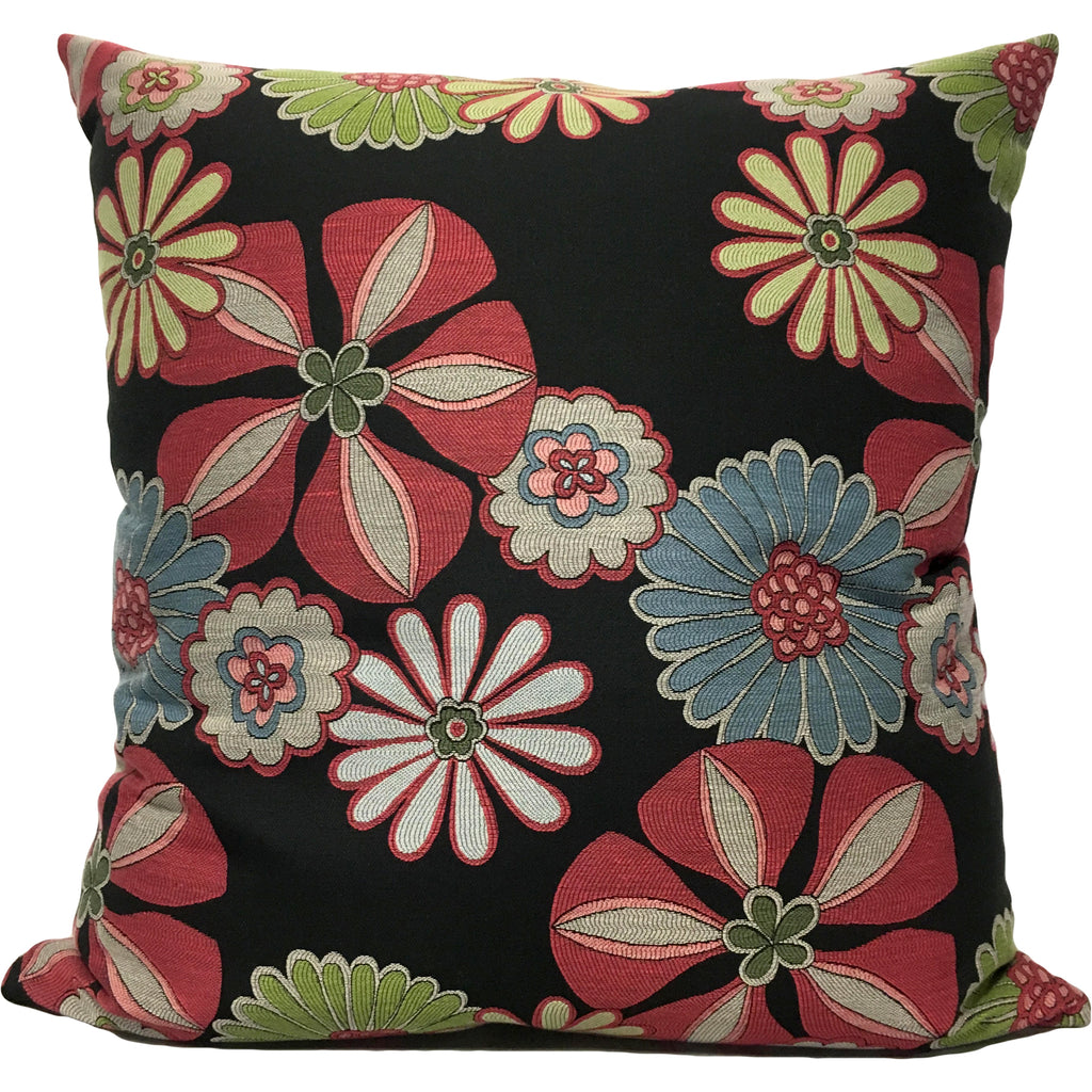 Aremetis Red Floral Euro Pillow 25x25""