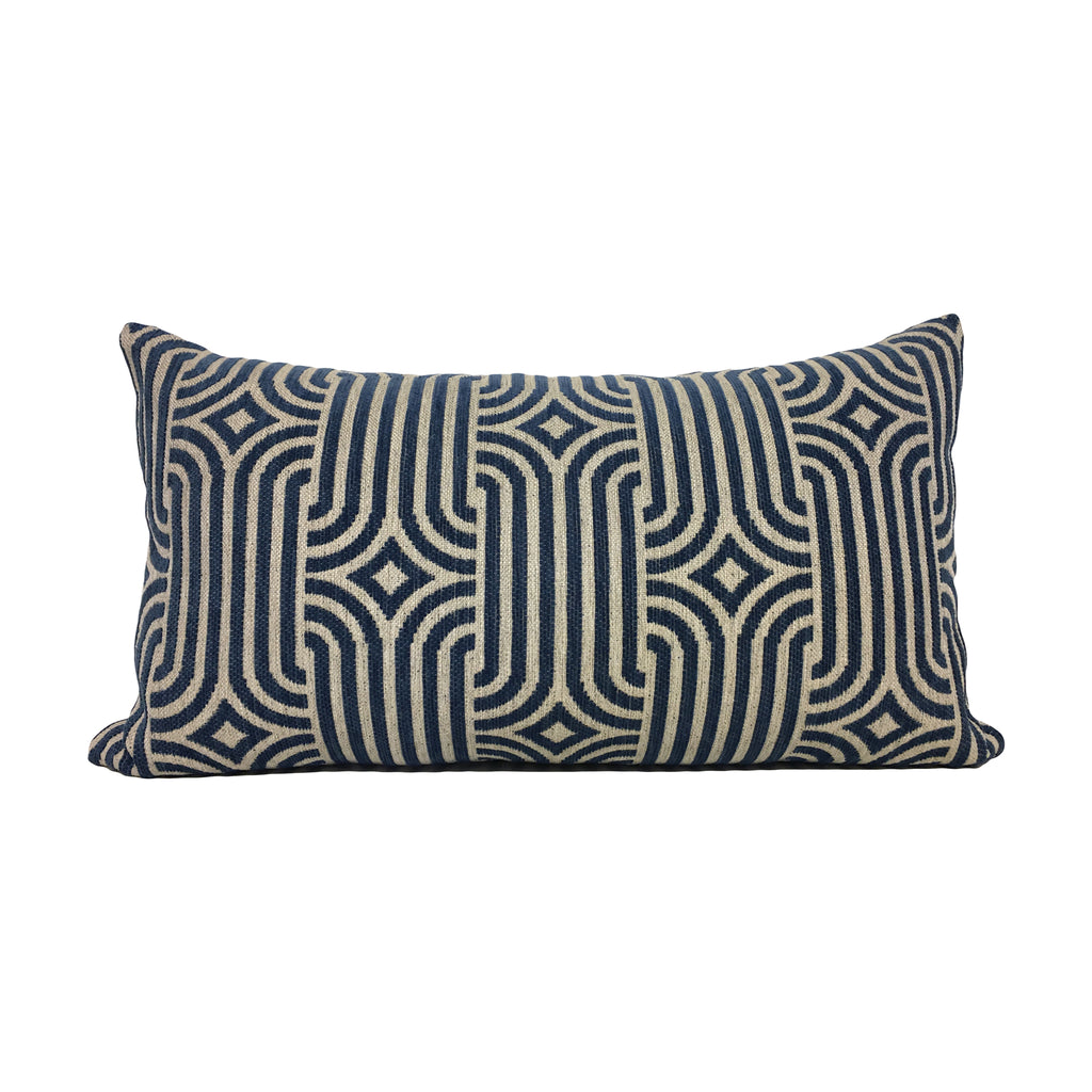 Aristocrat Blue Lumbar Pillow 12x22""