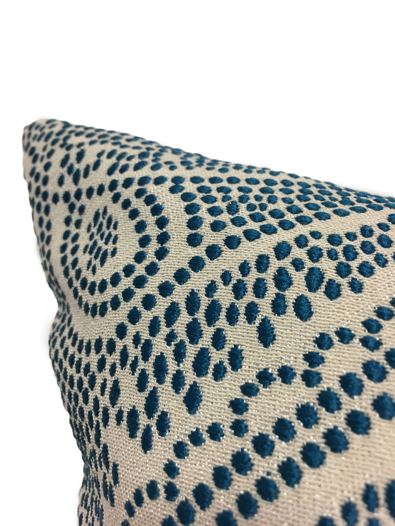 Arrow Point Fountain Blue Lumbar Pillow 12x22""