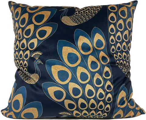 Art Deco Peacock Blue & Gold Euro Pillow 25x25""