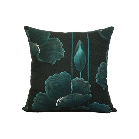 Art Deco Poppies Teal Throw Pillow 17x17""