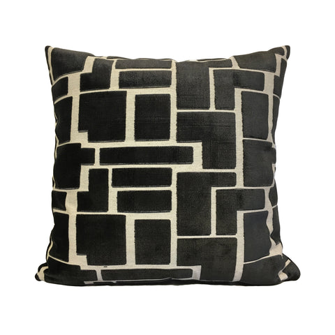 Aura Charcoal Grey Geometric Throw Pillow 20x20""