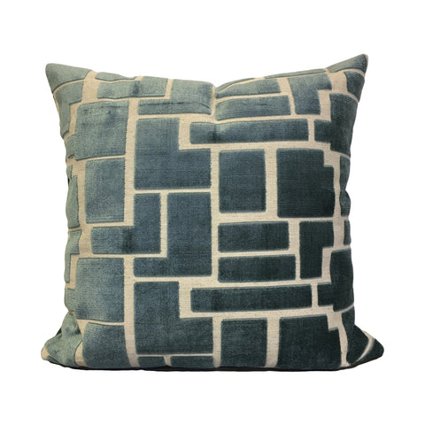 Aura H20 Teal Geometric Throw Pillow 20x20""