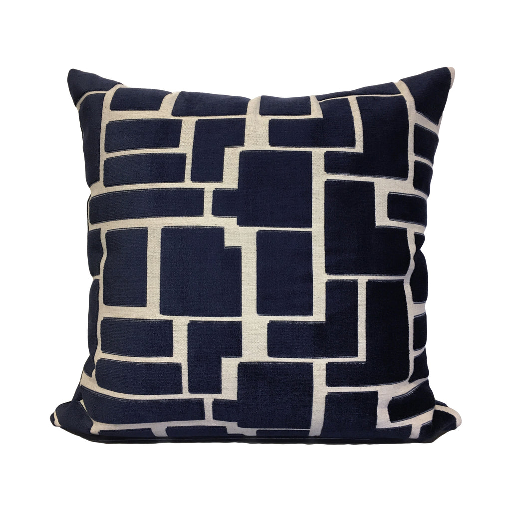 Aura Navy Geometric Throw Pillow 20x20""